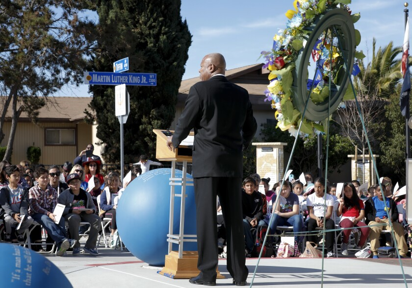 At the MLK Annual Laying of the Wreath  at the Martin Luther King, Jr. Way promenade
