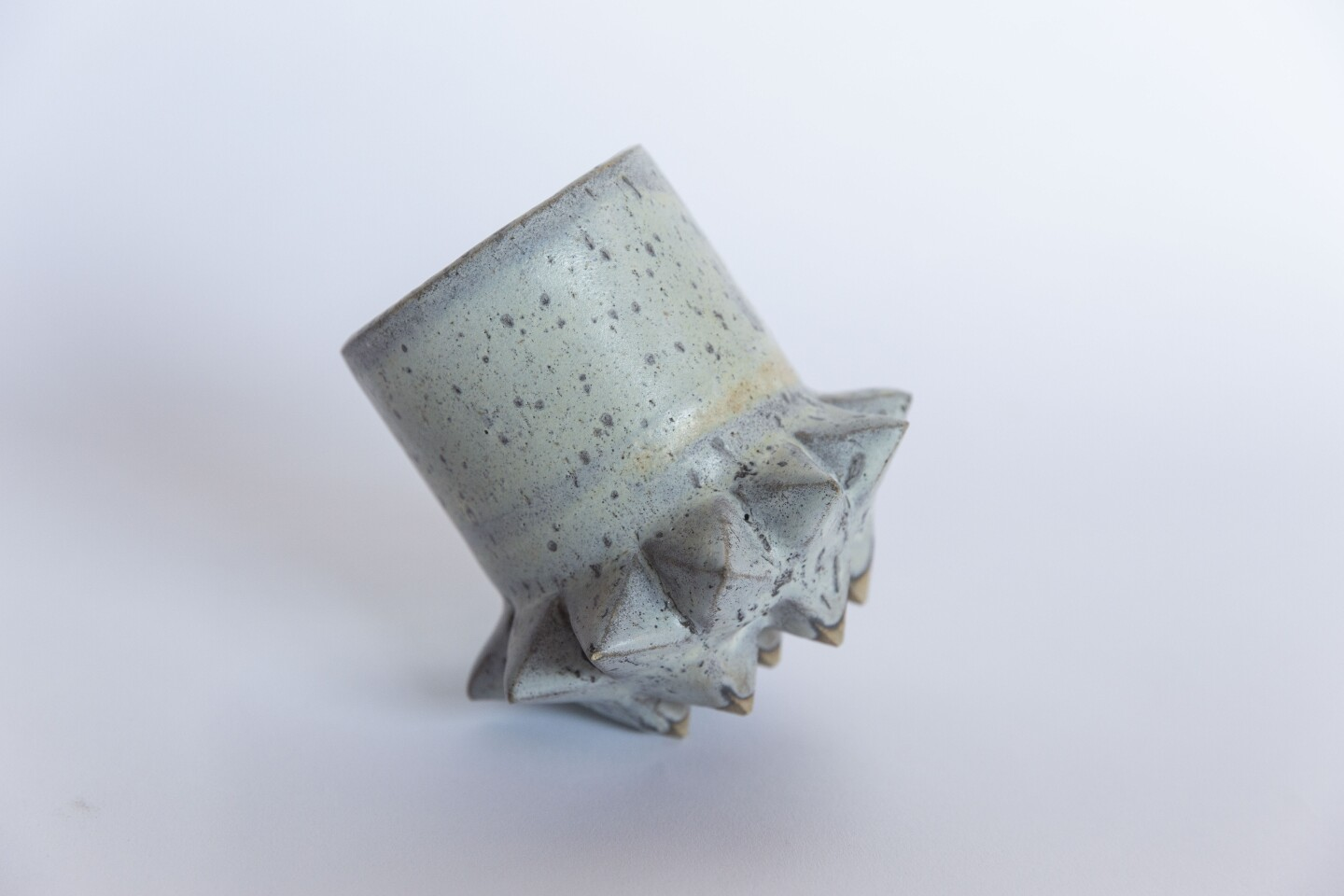 LOS ANGELES, October 31, 2019: Studded mug by LGS Studio. According to the studioÕs website about the collection, each piece is created with brutal, punk tones reflective of our primitive human history that bridges a gap from past to future and underlines the role ceramics have played in human culture.(Allison Zaucha / For The Times)