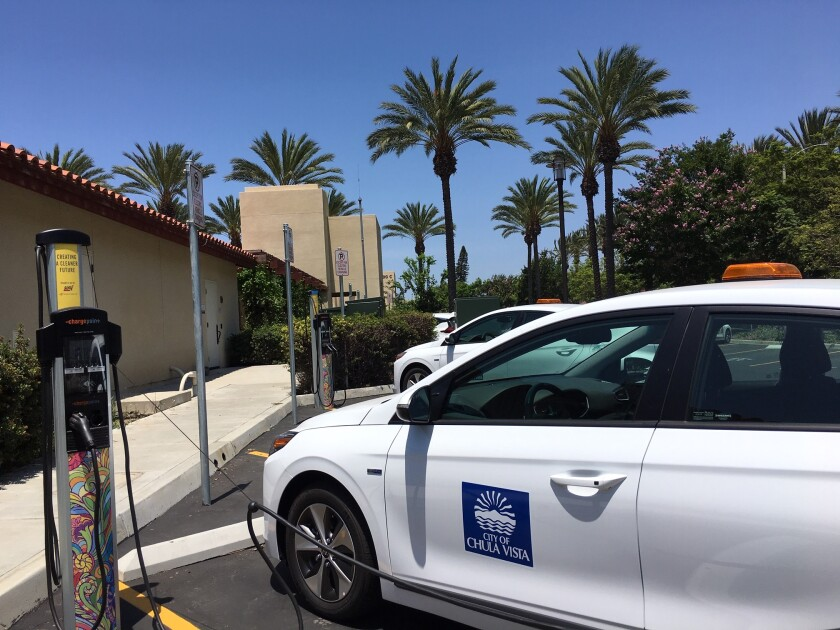 A Chula Vista city vehicle using a Power Your Drive electric vehicle charging station, installed by San Diego Gas & Electric.