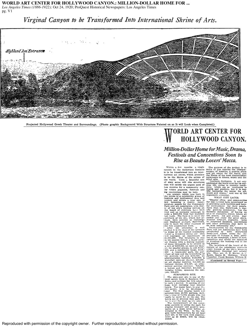 """Oct. 24, 1920: The L.A. Times trumpets the construction of a """"Mecca"""" for art lovers that was to become the Hollywood Bowl."""