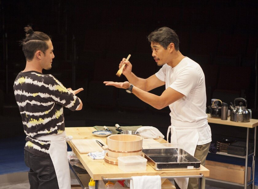 "Raymond Lee (left) and Tim Chiou appear in The Old Globe's ""tokyo fish story."""