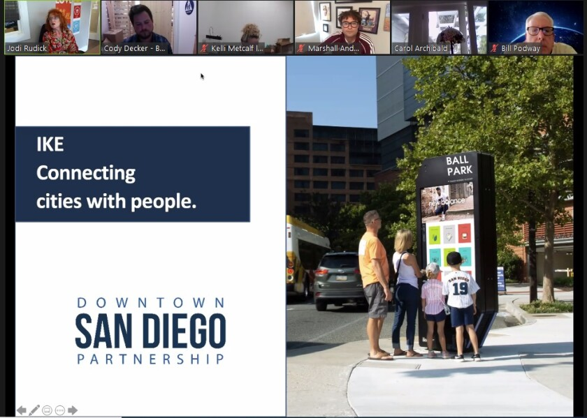 The La Jolla Village Merchants Association is given a presentation via Zoom about IKE digital kiosks.
