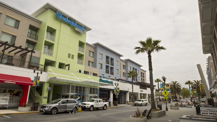 Huntington Beach city officials are projecting a $3.5-million to $4.5-million loss in sales and hotel occupancy tax revenue due to coronavirus concerns causing a decline in visits to hotels such as the Shorebreak, pictured.
