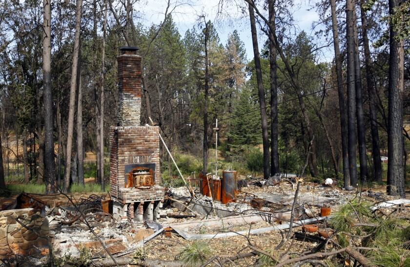 This Aug. 21, 2019 photo shows burned trees surrounding the burned out remains of a home destroyed by last year's Camp Fire, in Paradise, Calif.