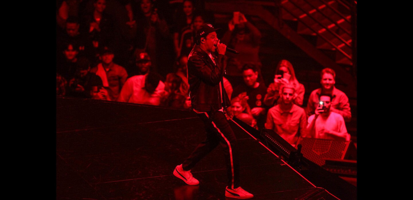 Rapper Jay-Z performs at Viejas Arena in San Diego.