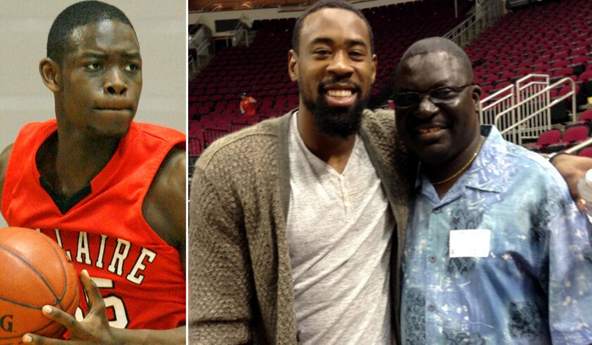 Tobi Oyedeji, left, during a Bellaire High playoff game while DeAndre Jordan poses for a photo with Michael Oyedeji.