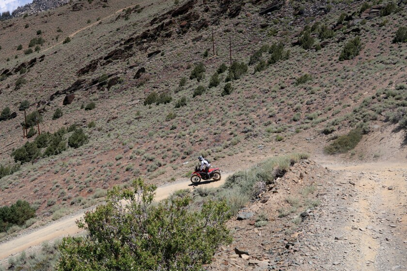 The route down the mountain on Silver Canyon Road proved challenging. Here, the author navigates a s