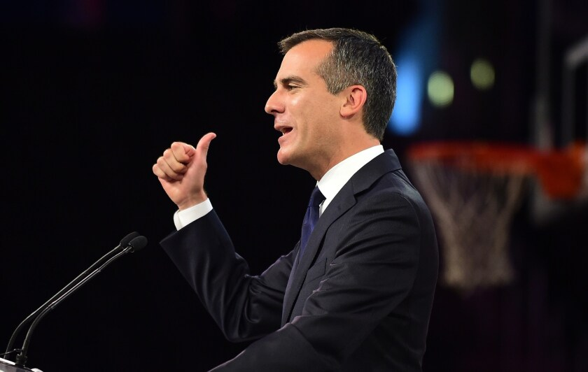 Mayor Eric Garcetti gestures while addressing the audience at the Clippers Fan Festival on Aug. 18
