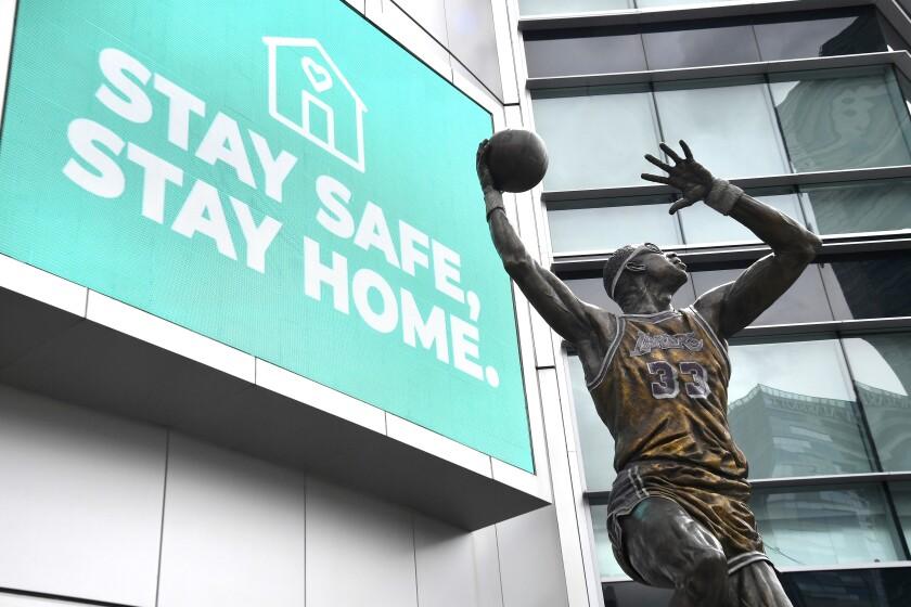 The coronavirus pandemic has kept Staples Center shuttered and NBA teams on the shelf.