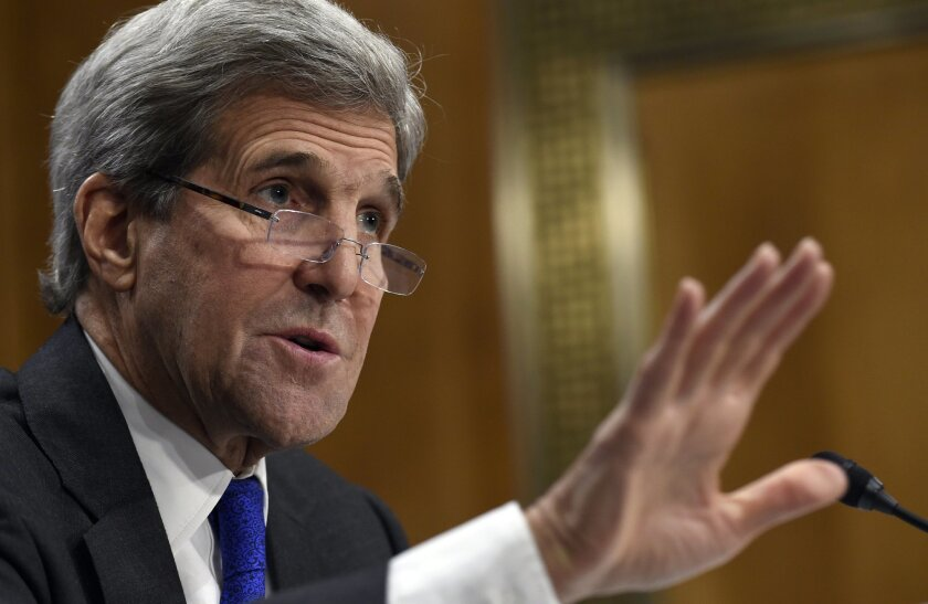 Secretary of State John Kerry testifies on Capitol Hill in Washington, Tuesday, Feb. 23, 2016, before the Senate Foreign Relations Committee hearing of the State Department's fiscal 2017 budget request. (AP Photo/Susan Walsh)