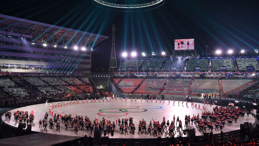 Athletes and performers during the opening ceremony of the 2018 Winter Olympics. Russian military spies hacked several hundred computers during the opening ceremony and tried to make it look like North Korea was responsible, according to U.S. intelligence.