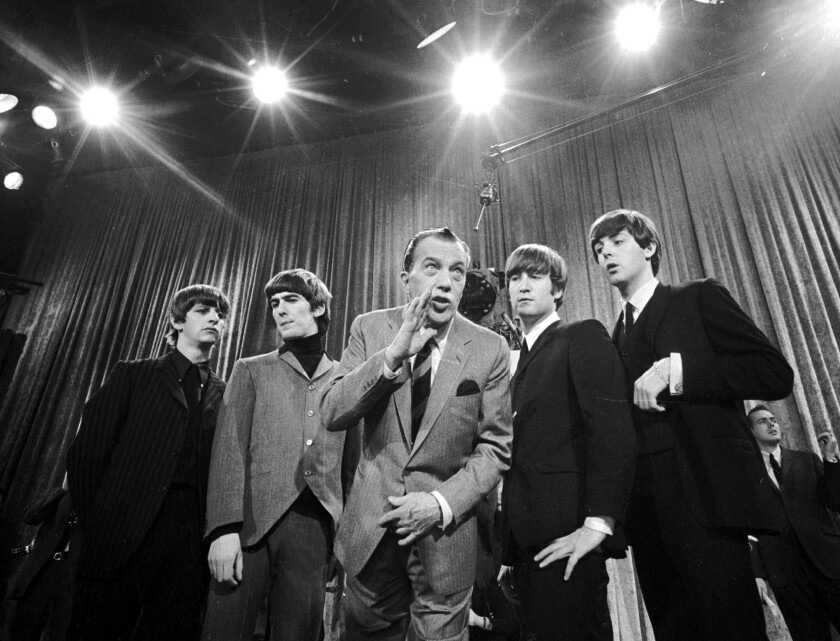 Ed Sullivan with the Beatles in 1964.