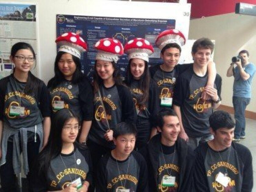 Torrey Pines High School and Canyon Crest Academy sent a joint team to the iGEM competition this year. They won second place and best poster. Courtesy photo