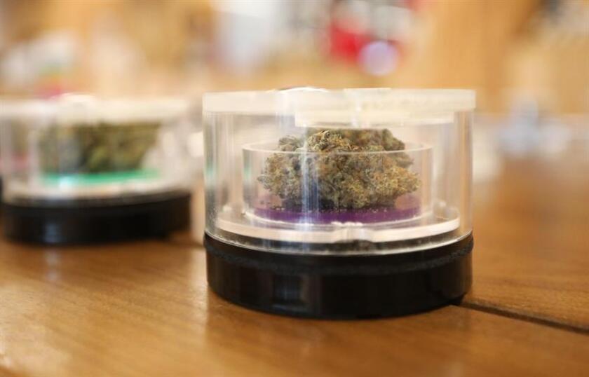 Productos de cannabis se exhiben en latas selladas en el dispensario MedMen para la compra de marihuana recreativa en West Hollywood, California (EE.UU.). EFE/Archivo
