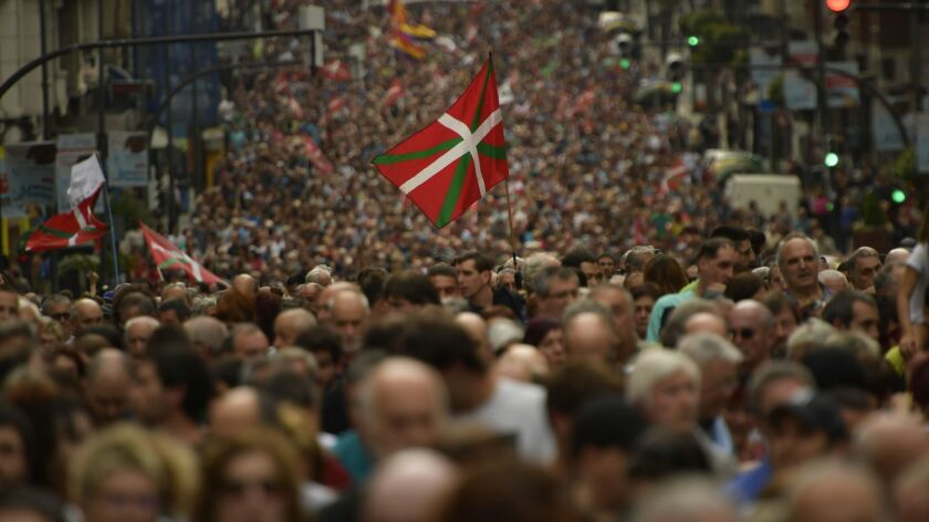 Several thousand protestors march in the northern Spanish city of Bilbao, northern Spain, Saturday,