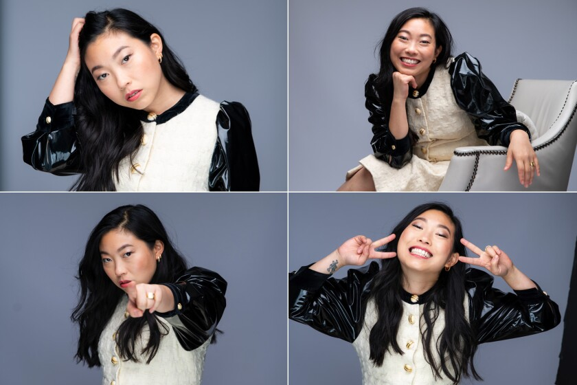 "Four different views of Awkwafina, star of ""The Farewell."""
