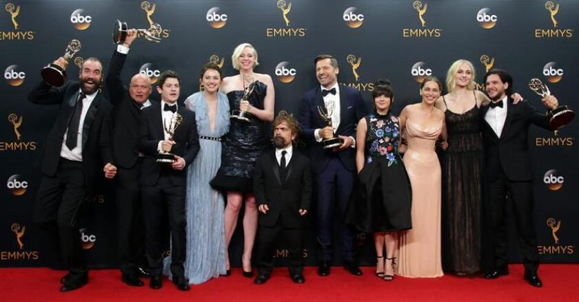 The cast and crew of 'Game of Thrones', winner of the Outstanding Drama Series Award, pose in the press room during the 68th annual Primetime Emmy Awards ceremony held at the Microsoft Theater in Los Angeles, California, USA, 18 September 2016. EFE/EPA/FILE