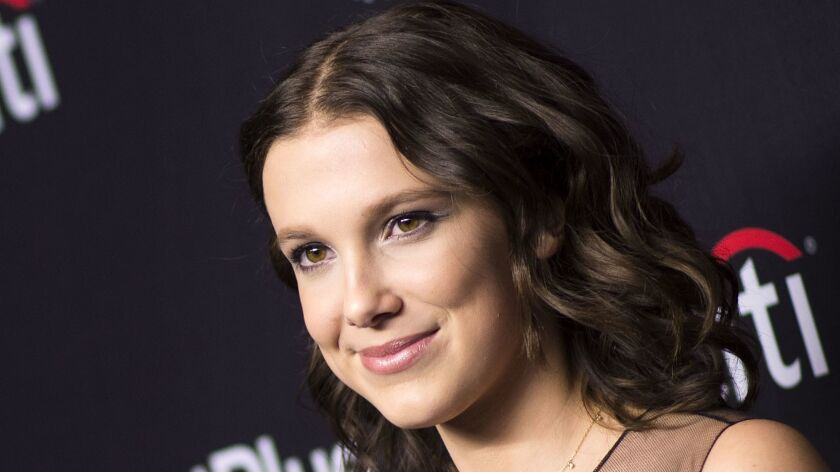 "Actress Millie Bobby Brown attends The 2018 PaleyFest screening of Netflix's ""Stranger Things"" at the Dolby Theater on March 25, 2018, in Hollywood, California."