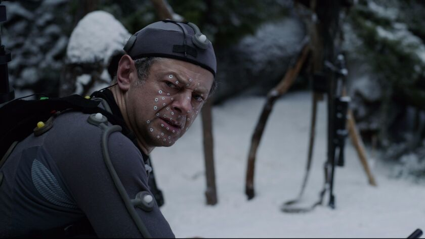 """Andy Serkis on the set of """"War for the Planet of the Apes."""""""