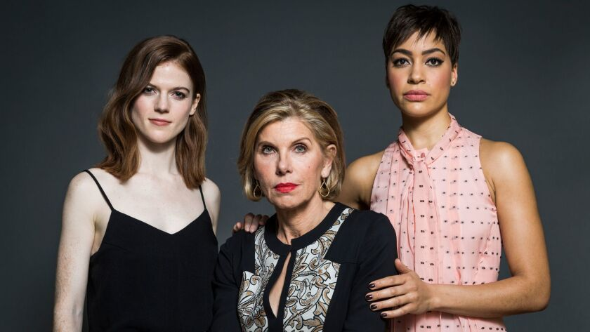 """From left: Rose Leslie, Christine Baranski and Cush Jumbo, stars of the new series """"The Good Fight"""" airing only on CBS' streaming service, CBS All Access."""