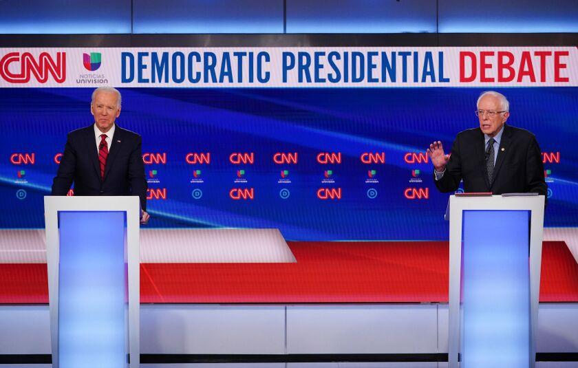 Former Vice President Joe Biden and Vermont Sen. Bernie Sanders