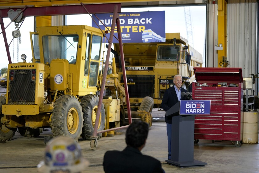 """FILE - In this Sept. 30, 2020, file photo then Democratic presidential candidate Joe Biden speaks after touring International Union of Operating Engineers Local 66, in New Alexandria, Pa. During this late-September swing through Westmoreland County, Pa., Biden said, """"A lot of white, working class Democrats thought we forgot them, I get their sense of being left behind."""" (AP Photo/Andrew Harnik, File)"""