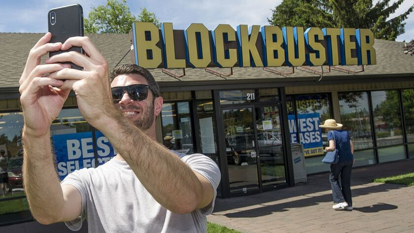 Scott Thornton takes a selfie in front of the Bend, Ore., Blockbuster on Friday, July 13, 2018. The