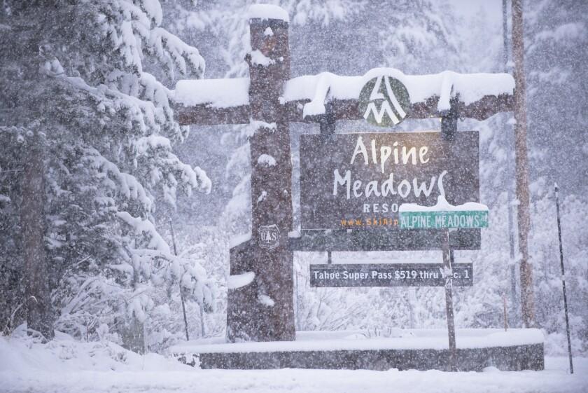 Snow at the Alpine Meadows ski resort.