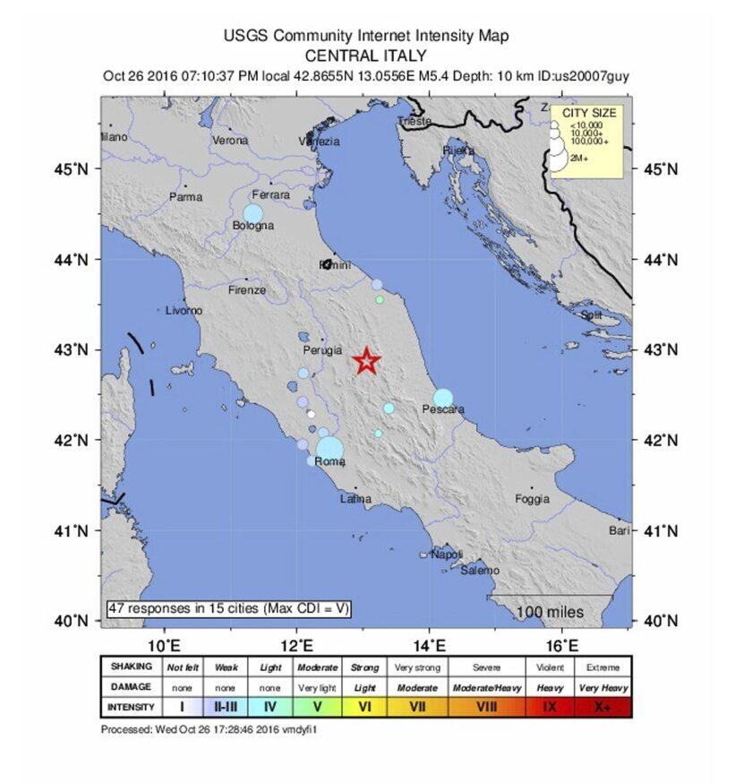 Foto de archivo cedida el 26 de octubre de 2016, por el Servicio Geológico de los Estados Unidos (USGS) que muestra el lugar donde se produjo un terremoto superior a los 5 grados en la escala Ritcher en Perugia, Italia. EFE/Usgs