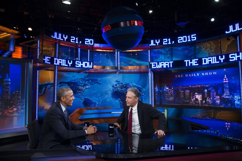 """President Obama talks with Jon Stewart, host of """"The Daily Show,"""" during Tuesday's taping in New York. It is Obama's third appearance on the show as president and seventh appearance overall."""