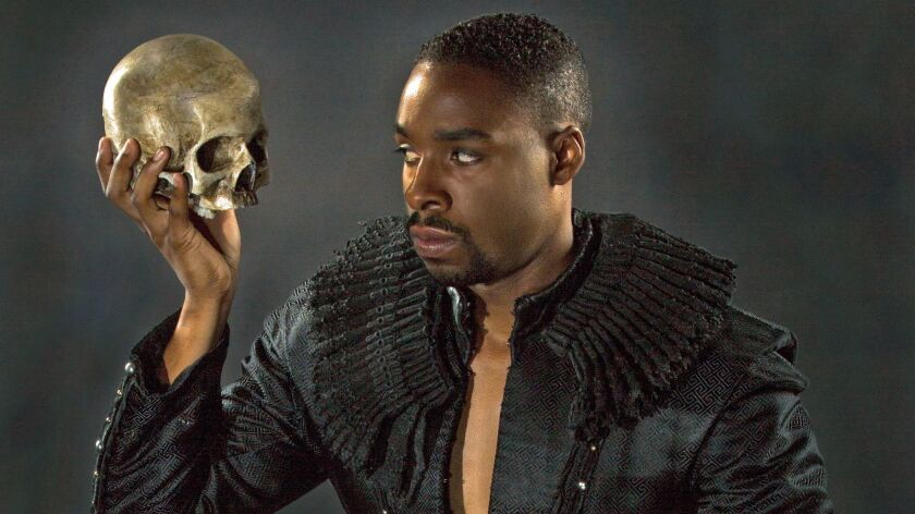 """Grantham Coleman gets into character as the melancholy Dane in Barry Edelstein's production of """"Hamlet"""" at San diego's Old globe. His is the mot operatic."""