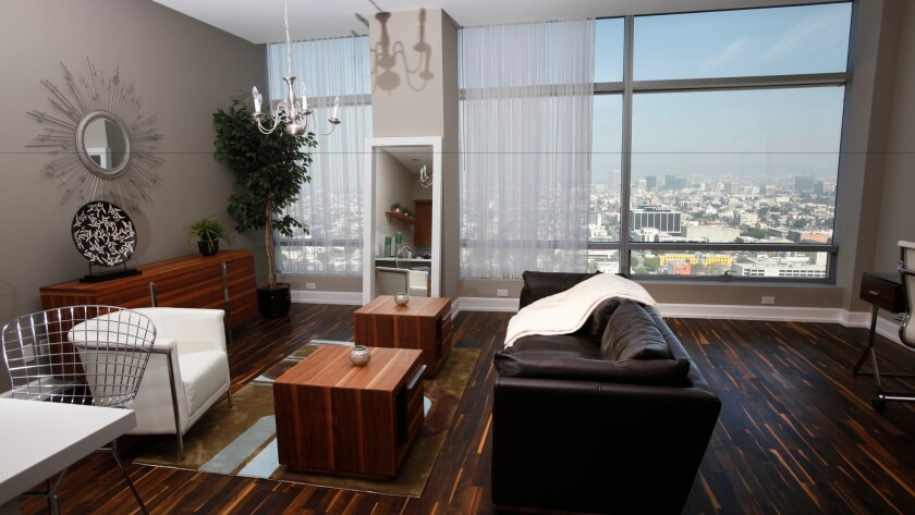 The interior of a luxury Ritz-Carlton condo in downtown Los Angeles in 2014.