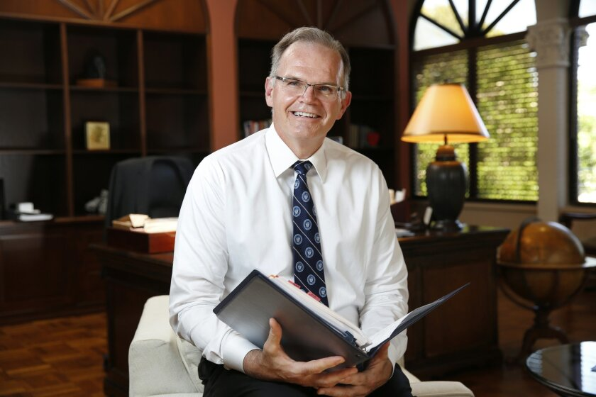 .James Harris, the new president of the University of San Diego, in his office on campus.