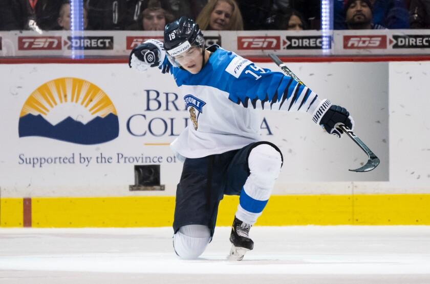 Rasmus Kupari of Finland celebrates after scoring a goal against Switzerland during a semifinal game of the 2019 IIHF World Junior Championship on Jan. 4.