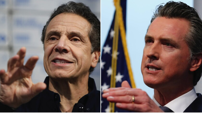 New York Gov. Andrew Cuomo, left, and California Gov. Gavin Newsom.