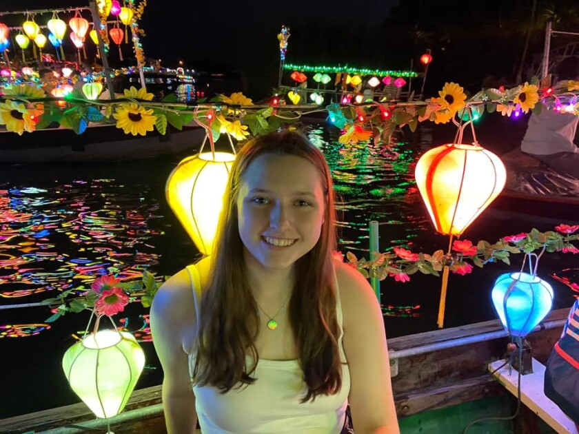 Kali Felty, 20, poses for a photo in Vietnam in February, where her Semester at Sea cruise ship was forced to dock for 12 days due to the closure of several Asian ports on their itinerary due to coronavirus fears.