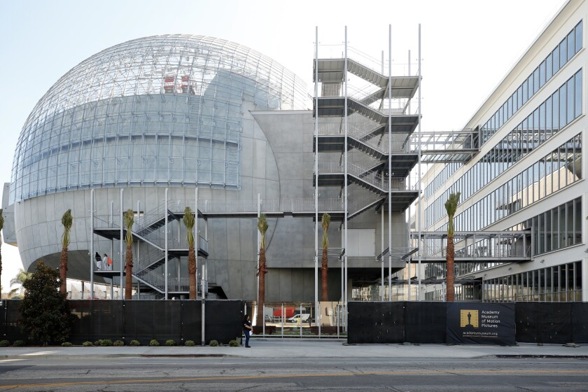 Architect Renzo Piano's orb-shaped theater building, which with a transformed May Co. building will form the Academy Museum of Motion Pictures.