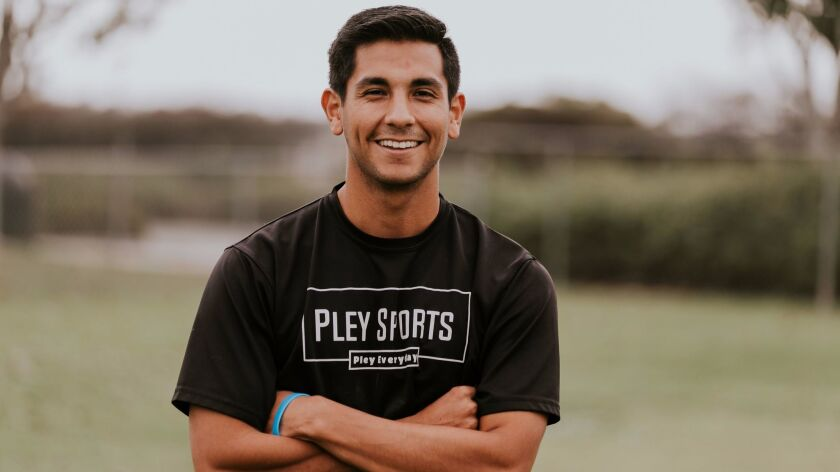 John Leal, 26, of Vista, is the founder and head coach for Pley Sports in Oceanside.