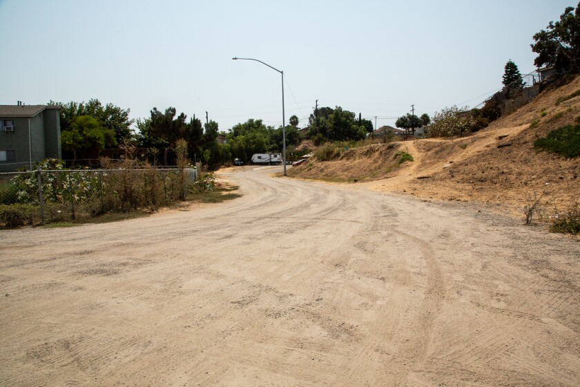 This dirt road is near where Greely Avenue and South 32nd Street intersect