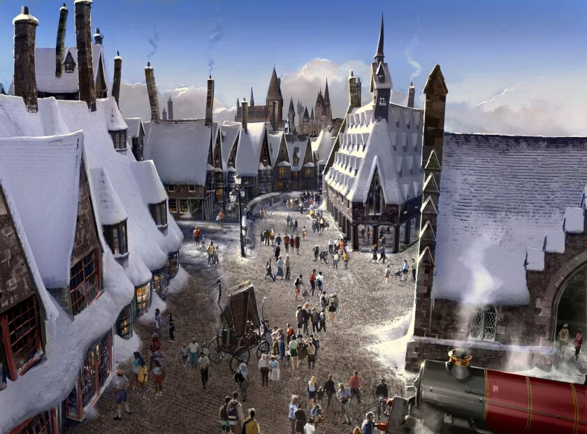 An artist rendering of the Wizarding World of Harry Potter at Universal Studios Hollywood, which is scheduled to open April 7. Some lucky park guests can get an early sneak peek starting today.
