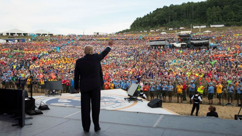 President Donald Trump waves to the crowd after speaking at the 2017 National Scout Jamboree in Glen Jean, W.Va. on July 24.