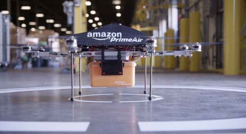 One of the drones Amazon plans to use to make local deliveries for Amazon Prime Air.