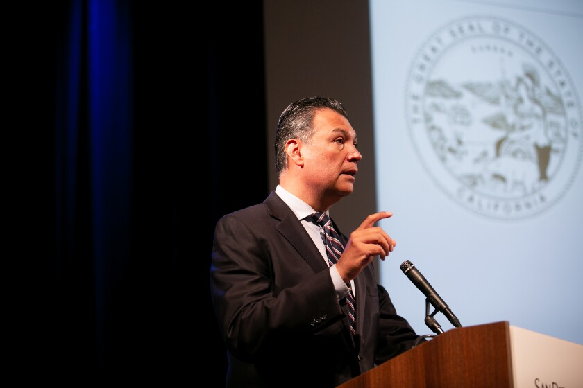 California Secretary of State Alex Padilla speaks at a workshop about the Census hosted at the San Diego City College Educational Cultural Complex on August 16, 2019 in San Diego, California.