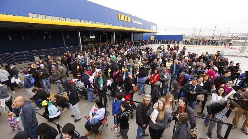 Ikea's Burbank store drew a crowd at its opening in 2016. The company is reportedly planning to open 30 new, smaller stores in city centers.