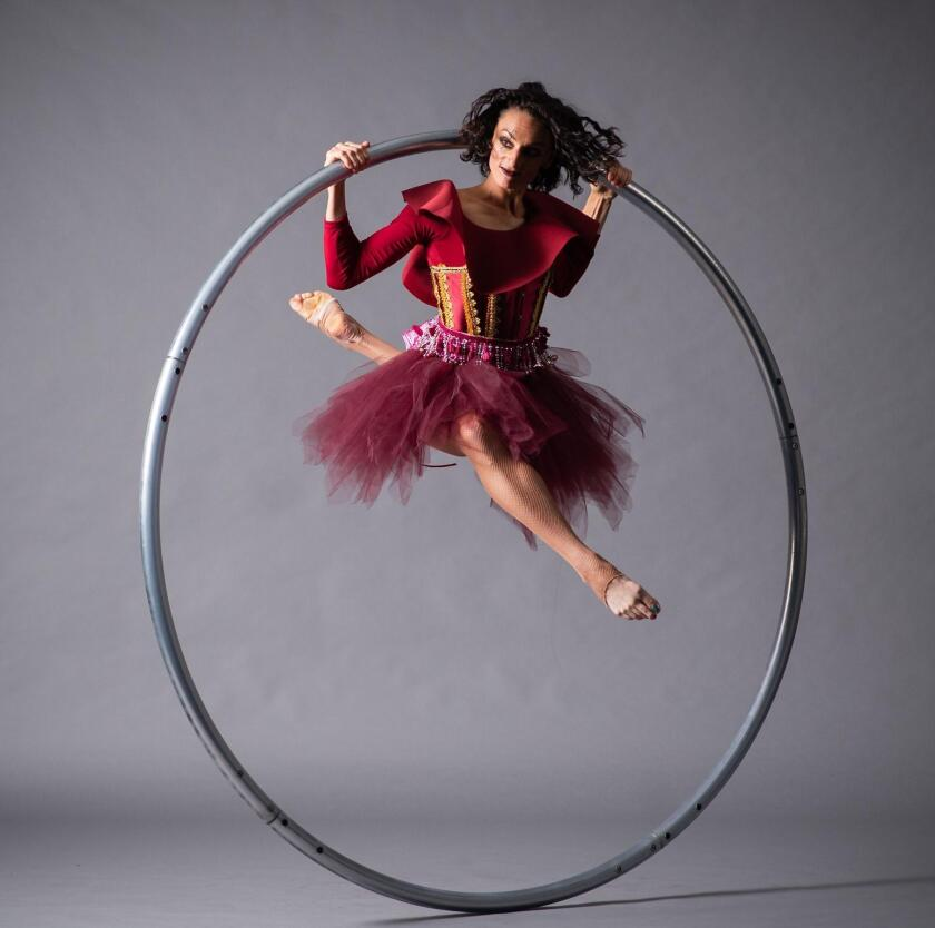 Cyr Wheel artist Courtney Giannone will show off some cool moves in Malashock Dance's circus event, Without a Net' during WOW Festival at Liberty Station in Point Loma/San Diego, Oct. 17-20, 2019.