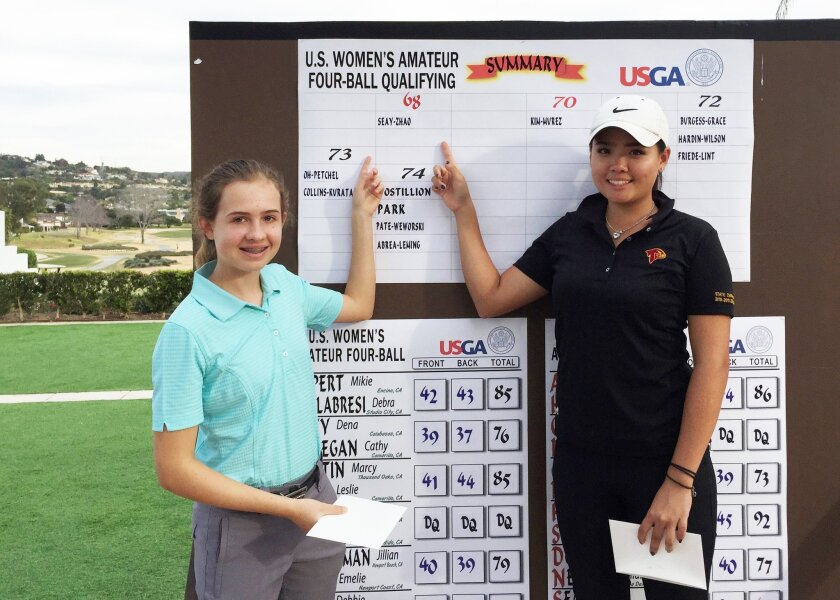 Brooke Seay and Carolyn Zhao took first at the USGA Women's Amateur Four-Ball Championship qualifier at La Costa Resort.
