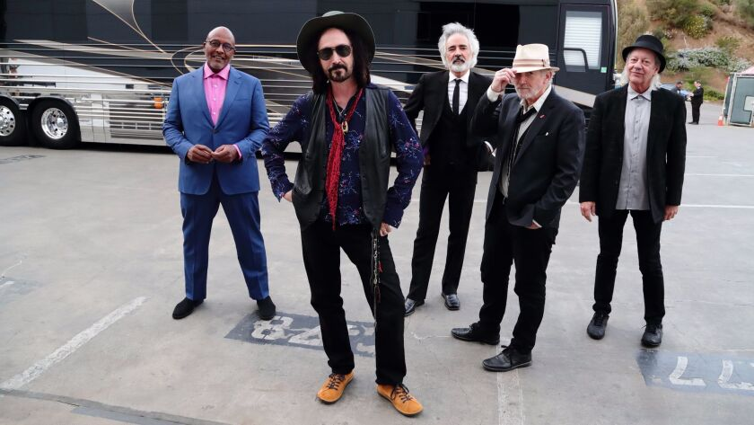 LOS ANGELES, CA - SEPTEMBER 25, 2017: The Heartbreakers of Tom Petty & the Heartbreakers back stage