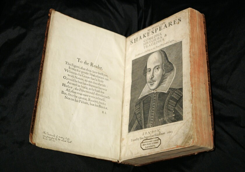 A calf-bound 1623 copy of the First Folio edition of William Shakespeare's plays. Wednesday marks the playwright's 450th birthday.