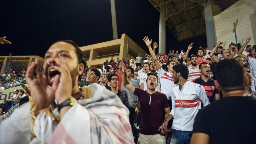 Zamalek football fans cheer their team during an Egyptian Premier League match between Zamalek and E