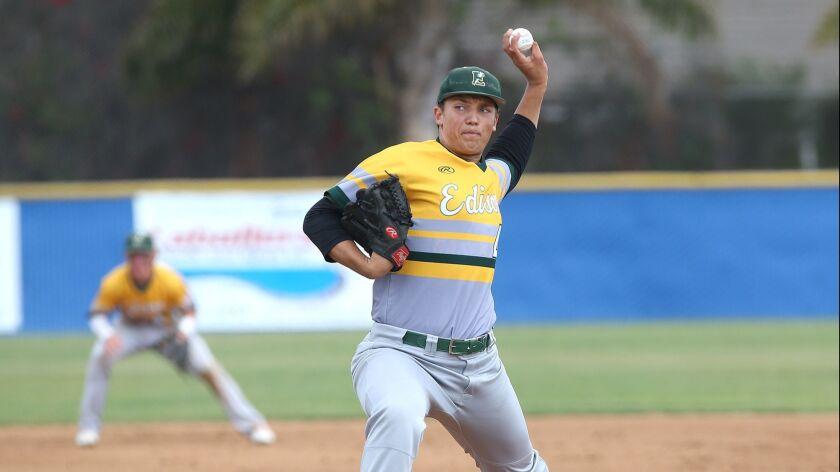 Edison starting pitcher Matt Swartz throws a strike during boys' baseball at Fountain Valley on Wedn